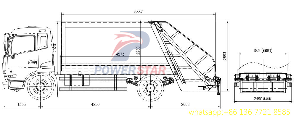 10m3 12m3 refuse compactor vehicle body kit up structure