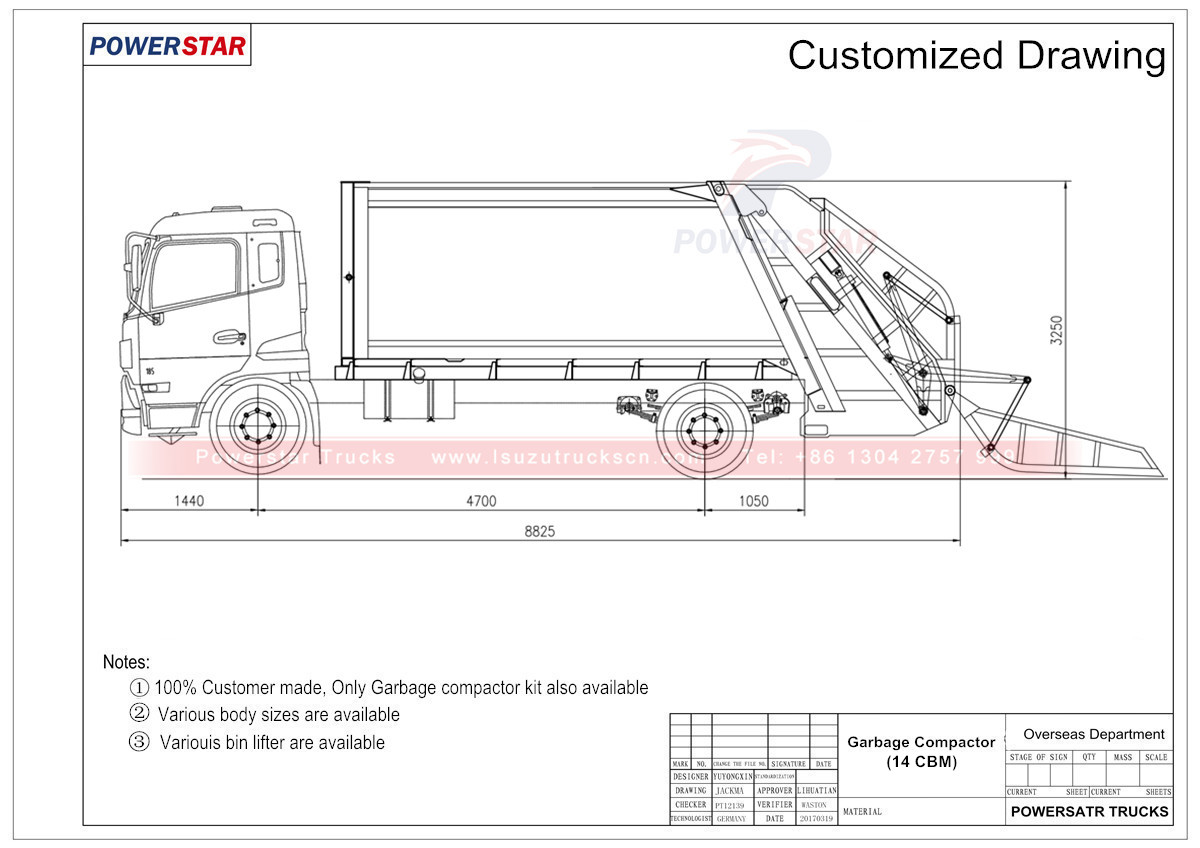 Technical drawing for Refused compactor garbage truck Isuzu (14 cbm)