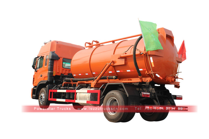 10,000L sewage suction truck with vacuum pump for sucking waste