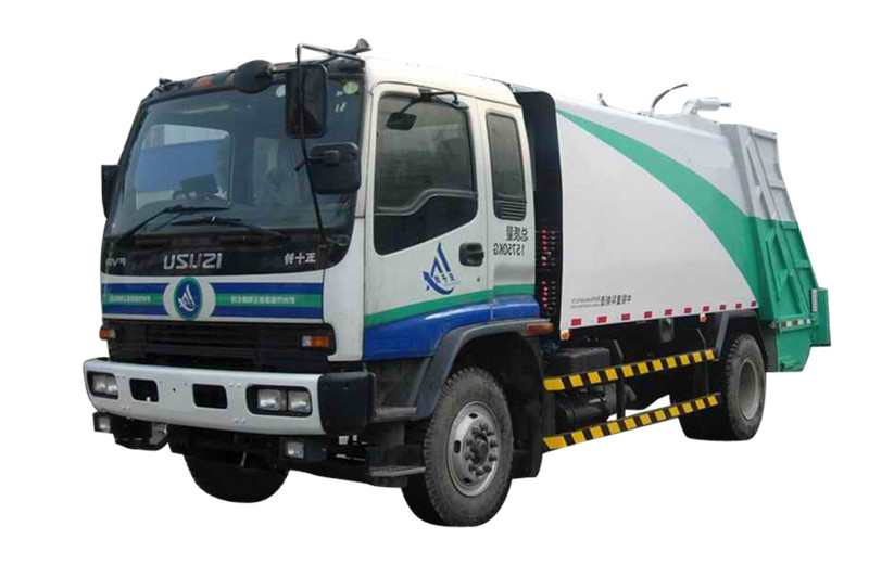 Rear loading hydraulic garbage compactor vehicle made by powerstar trucks