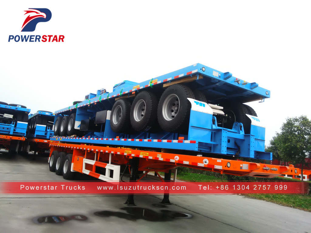 Powerstar brand 40ft 3-axle flatbed semi-trailer for carry container