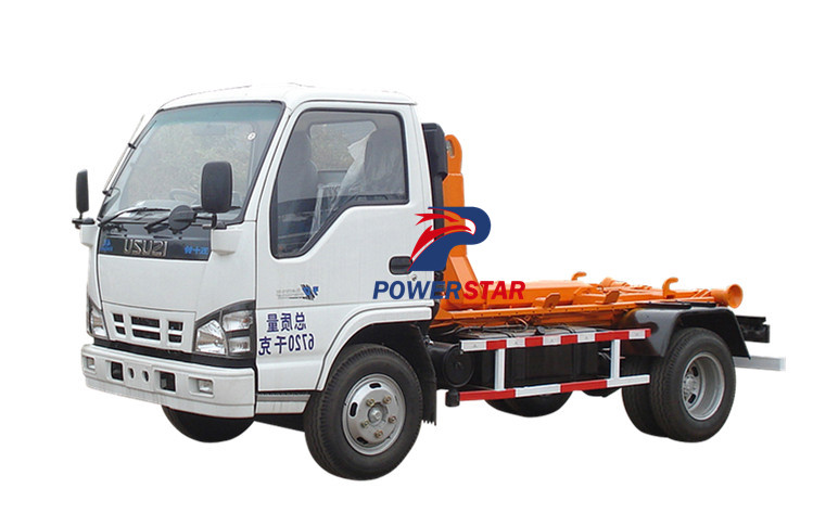 Hook lift garbage truck Isuzu with 5 cbm loading capacity for sale