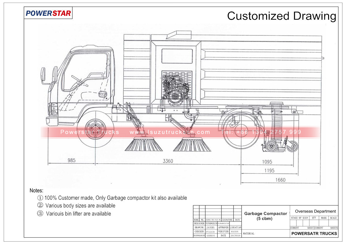 technical drawing for Hydraulic road sweeper truck Isuzu (4 cbm)