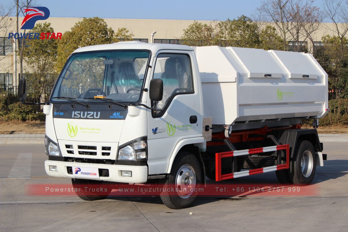 Japan Isuzu 5cbm 5tons container removable garbage truck for sale