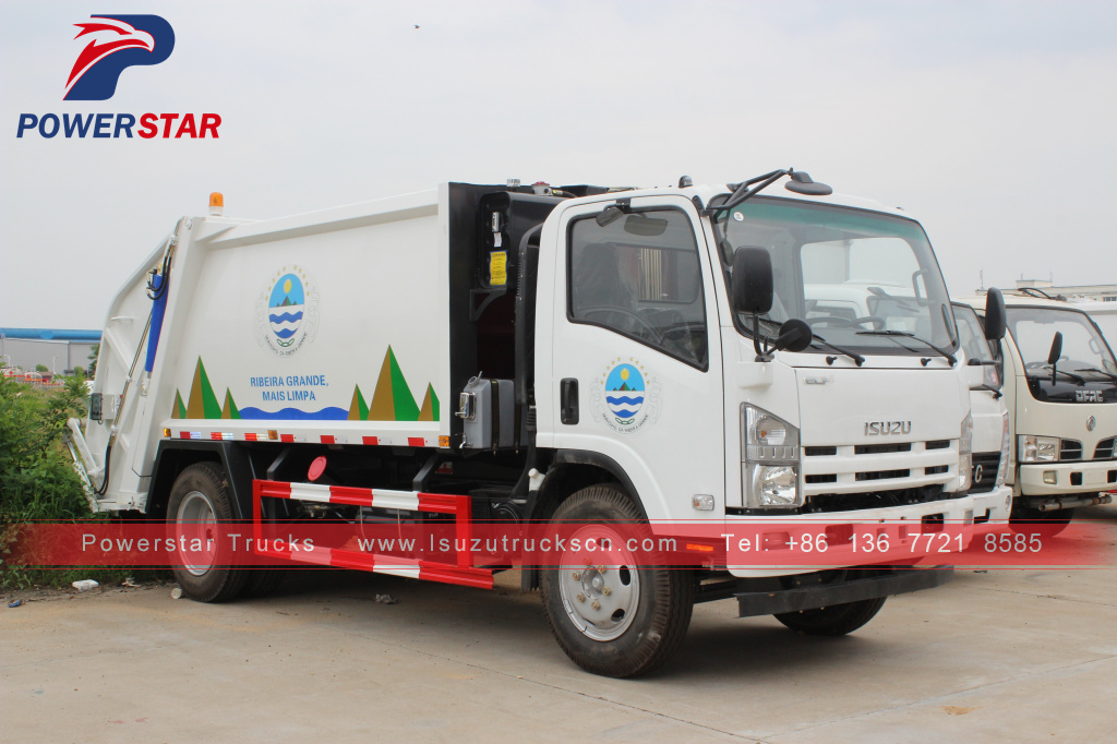 Portuguesa customer 8cbm Isuzu refuse compactor garbage trucks for sale