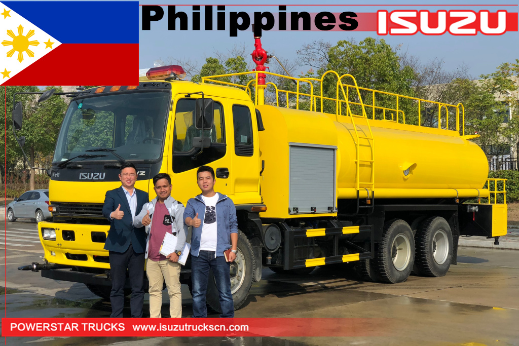 Philippines ISUZU FVZ road sprinkler water tank fire truck 14000L water bowser truck for sale