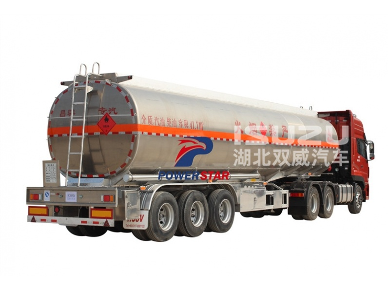 3 axle aluminum fuel tank semi trailer stainless steel oil tank semi trailer