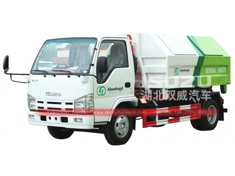 Mongolia isuzu Container removable garbage truck for sale